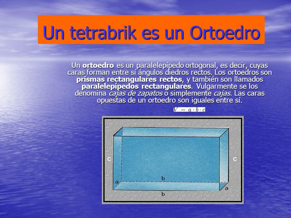 Un tetrabrik es un Ortoedro Un ortoedro es un paralelepípedo ortogonal, es decir, cuyas caras forman entre sí ángulos diedros rectos. Los ortoedros so