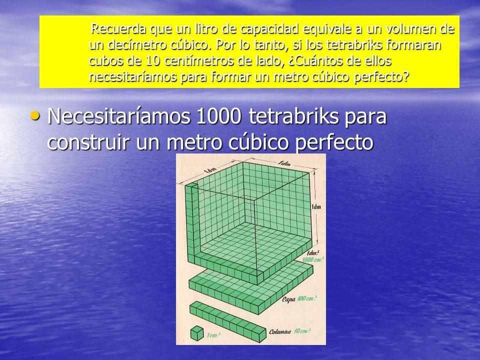 Recuerda que un litro de capacidad equivale a un volumen de un decímetro cúbico. Por lo tanto, si los tetrabriks formaran cubos de 10 centímetros de l