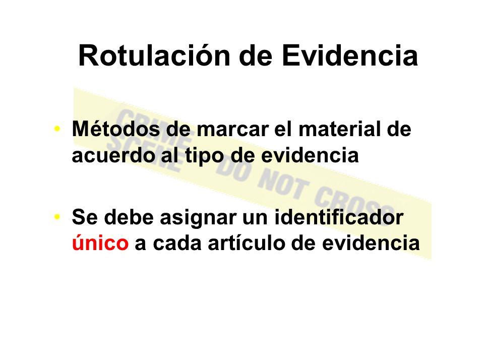 EMPACANDO LA EVIDENCIA Toda evidencia debe ser sellada y todos los sellos deben ser rotulados apropiadamente Empaque apropiado mantiene la integridad de la evidencia Cadena de Custodia