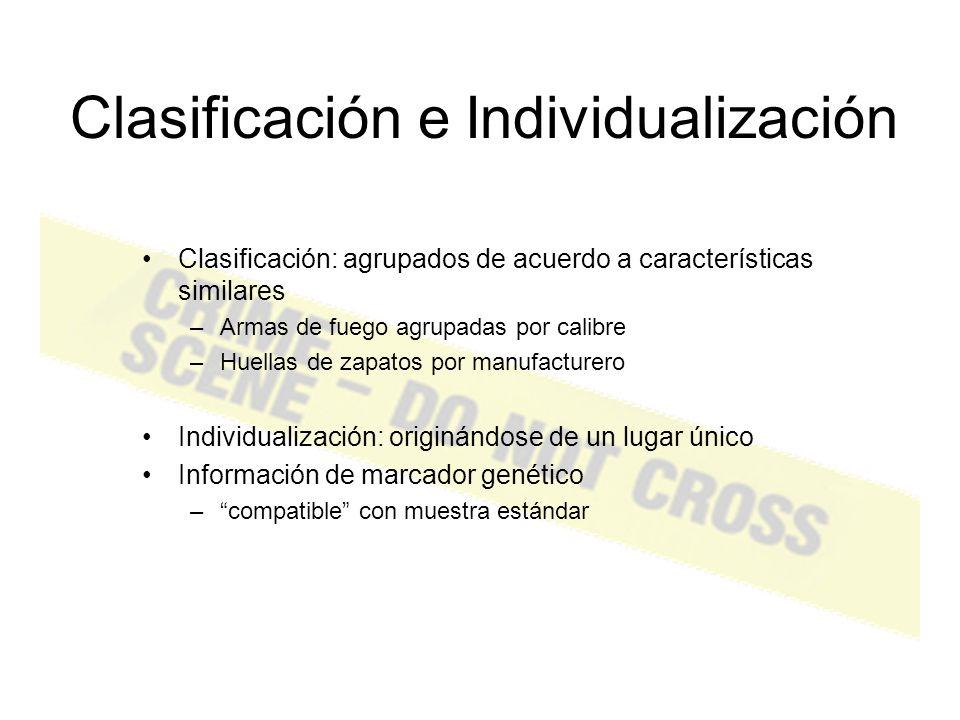 Identificación Caracterizar la mancha –sangre, semen o saliva Identificación está acompañada por – Pruebas presuntivas – Pruebas confirmatorias – Análisis final (STR )