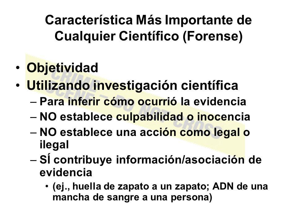Escribiendo el Reporte Reporte es un requerimiento legal Resume –Qué fue analizado; Cómo fue analizado –Observaciones Experimentales –Conclusiones; estadísticas Comparaciones –Las muestras analizadas (conocida/desconocida), ¿tienen el mismo origen.