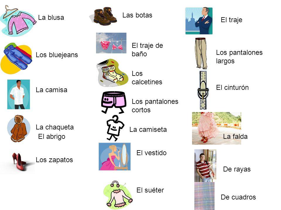 La bolsa La gorra Los guantes El impermeable Las medias El paraguas El sombrero