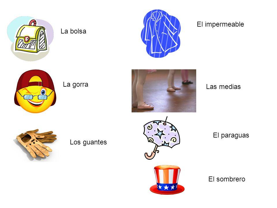 Otro vocabulario To wear= llevar De lana De cuero De seda De algodón Comfortable=Cómodo/a ¡Lo de siempre!=The usual.