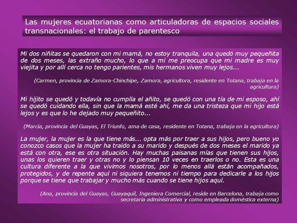 Las mujeres ecuatorianas como articuladoras de espacios sociales transnacionales: el trabajo de parentesco Mi dos niñitas se quedaron con mi mamá, no