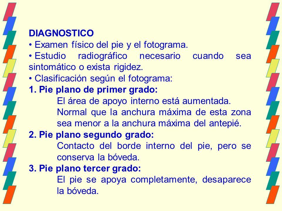 DIAGNOSTICO Examen físico del pie y el fotograma.