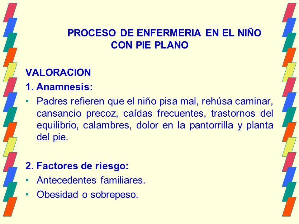 PROCESO DE ENFERMERIA EN EL NIÑO CON PIE PLANO VALORACION 1.