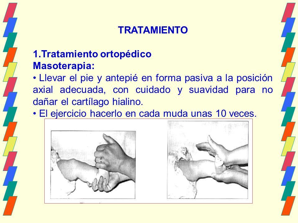 TRATAMIENTO 1.Tratamiento ortopédico Masoterapia: Llevar el pie y antepié en forma pasiva a la posición axial adecuada, con cuidado y suavidad para no dañar el cartílago hialino.