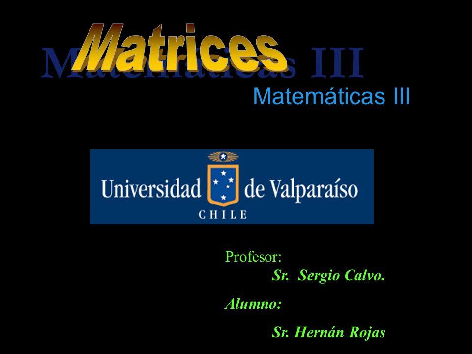 Matemáticas III Profesor: Sr. Sergio Calvo. Alumno: Sr. Hernán Rojas