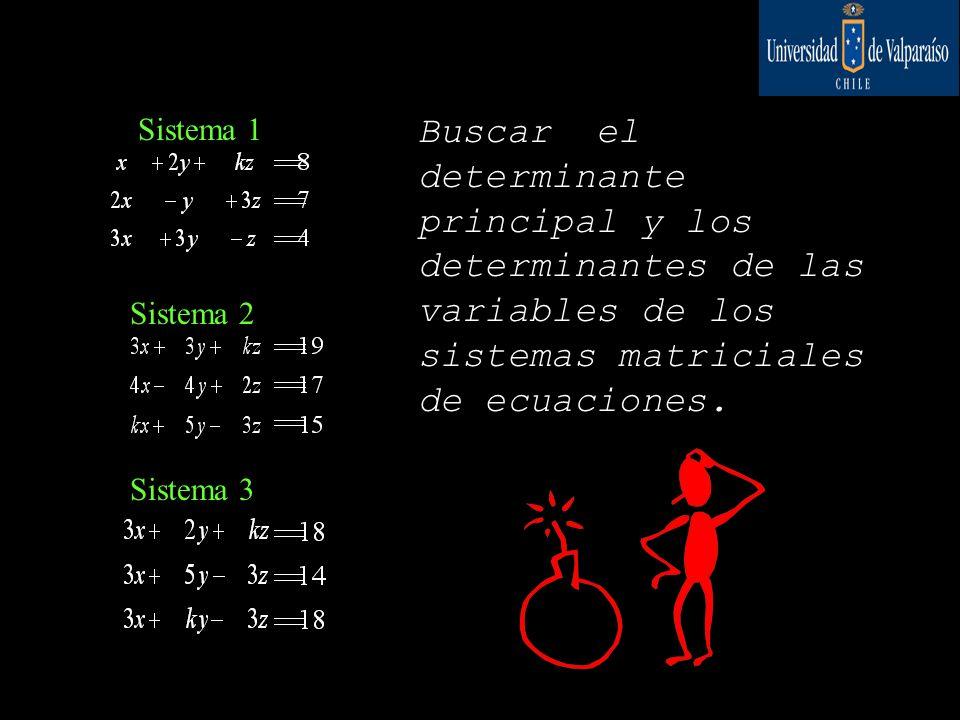 Sistema 1 Sistema 2 Sistema 3 Buscar el determinante principal y los determinantes de las variables de los sistemas matriciales de ecuaciones.