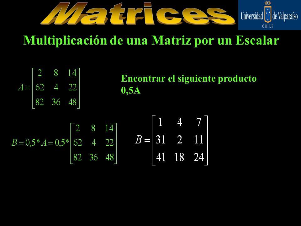 Multiplicación de una Matriz por un Escalar Encontrar el siguiente producto 0,5A