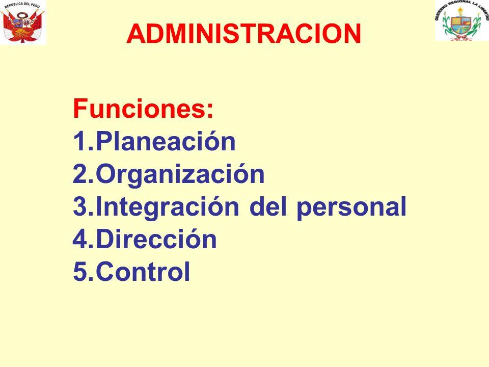 ADMINISTRACION Funciones: 1.Planeación 2.Organización 3.Integración del personal 4.Dirección 5.Control