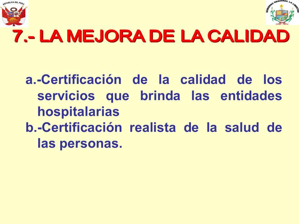 a.-Certificación de la calidad de los servicios que brinda las entidades hospitalarias b.-Certificación realista de la salud de las personas.