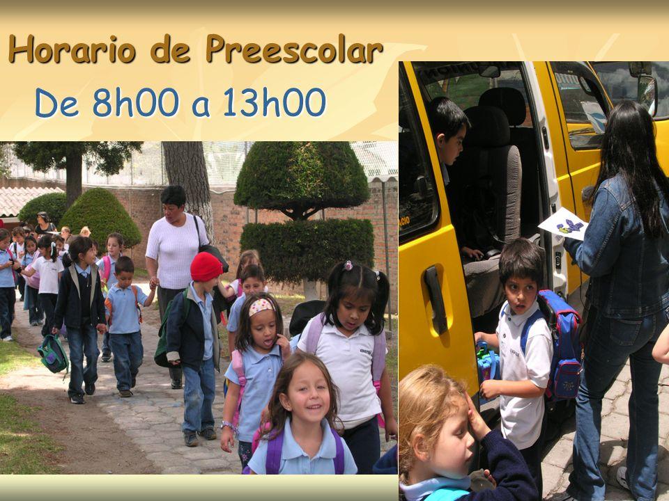 De 8h00 a 13h00 Horario de Preescolar