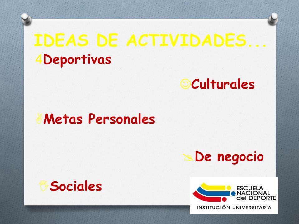 IDEAS DE ACTIVIDADES... Culturales 4Deportivas De negocio Metas Personales Sociales