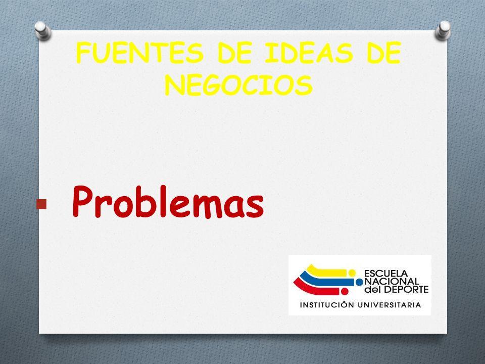 FUENTES DE IDEAS DE NEGOCIOS Problemas