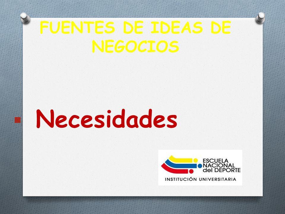 FUENTES DE IDEAS DE NEGOCIOS Necesidades