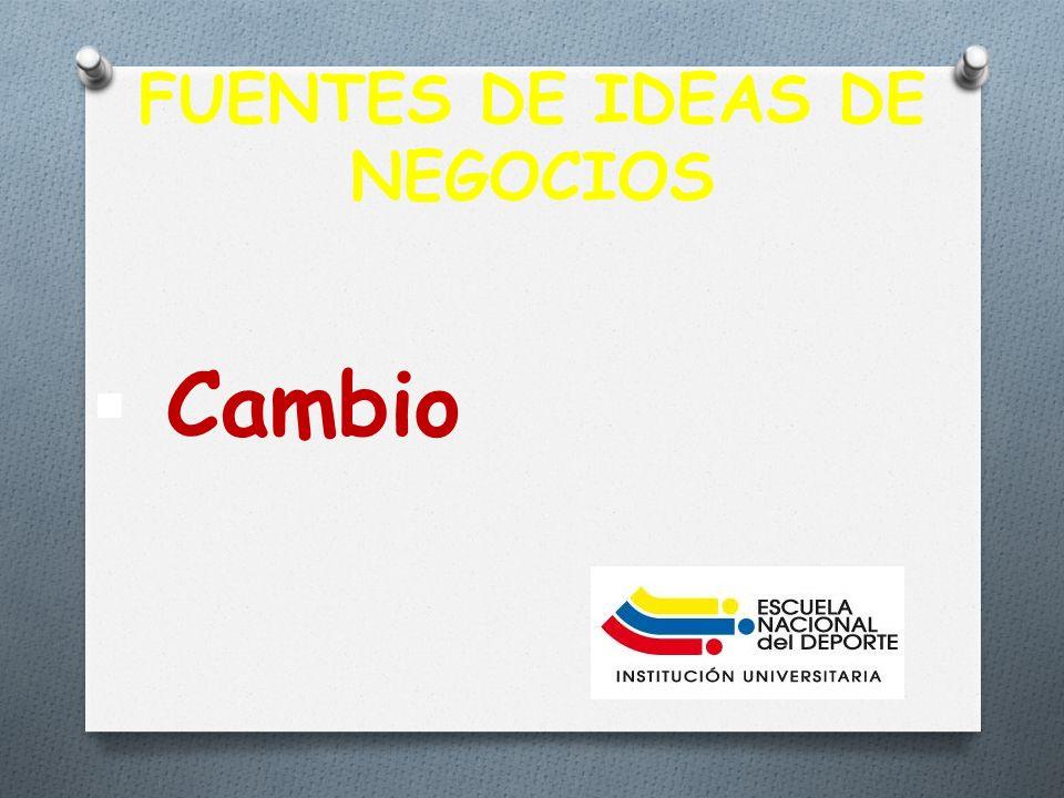 FUENTES DE IDEAS DE NEGOCIOS Cambio