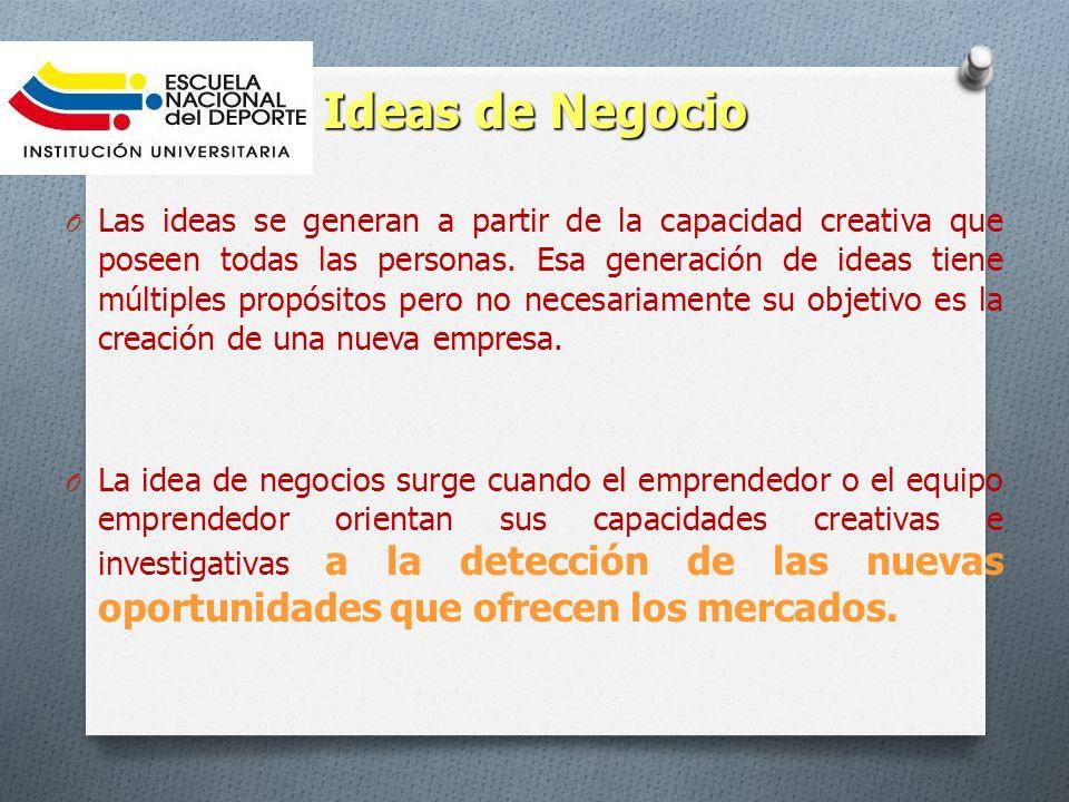 Ideas de Negocio O Las ideas se generan a partir de la capacidad creativa que poseen todas las personas. Esa generación de ideas tiene múltiples propó