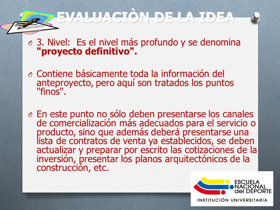 EVALUACIÒN DE LA IDEA O 3.Nivel: Es el nivel más profundo y se denomina proyecto definitivo .