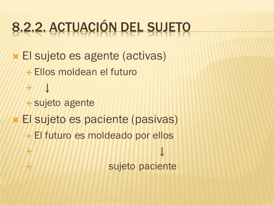 El sujeto es agente (activas) Ellos moldean el futuro sujeto agente El sujeto es paciente (pasivas) El futuro es moldeado por ellos sujeto paciente