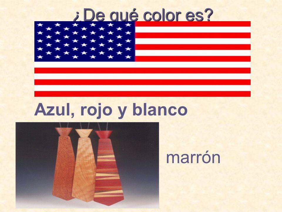 ¿De qué color es? Azul, rojo y blanco marrón