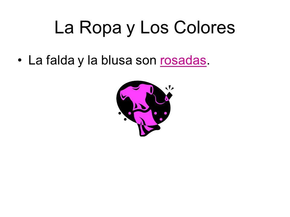 La Ropa y Los Colores La falda y la blusa son rosadas.