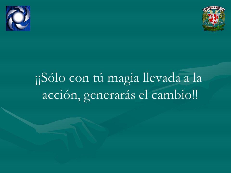 ¡¡Sólo con tú magia llevada a la acción, generarás el cambio!!