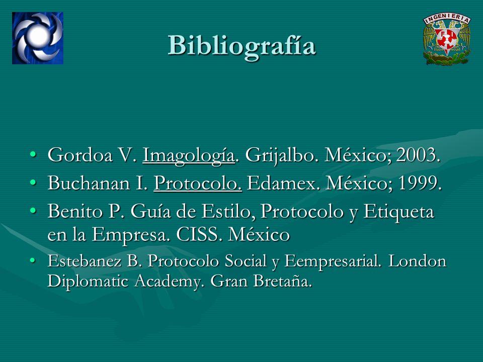 Bibliografía Gordoa V. Imagología. Grijalbo. México; 2003.Gordoa V. Imagología. Grijalbo. México; 2003. Buchanan I. Protocolo. Edamex. México; 1999.Bu