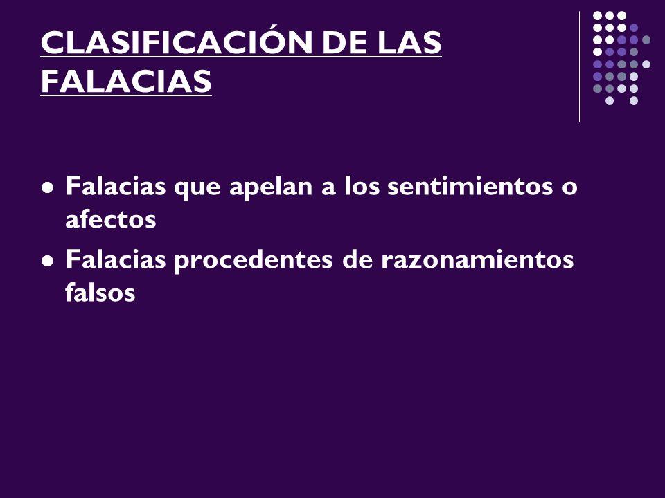 CLASIFICACIÓN DE LAS FALACIAS Falacias que apelan a los sentimientos o afectos Falacias procedentes de razonamientos falsos