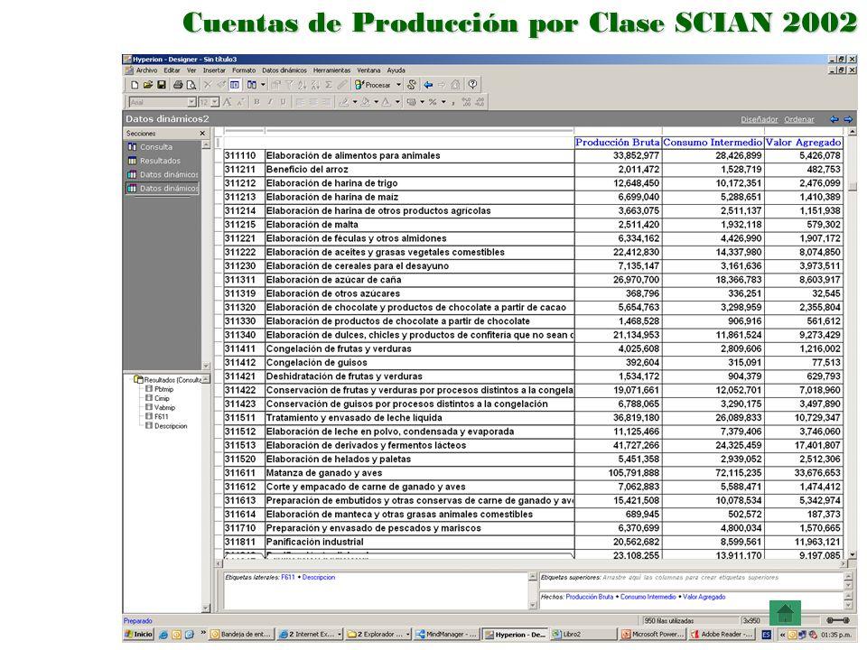 Cuentas de Producción por Clase SCIAN 2002