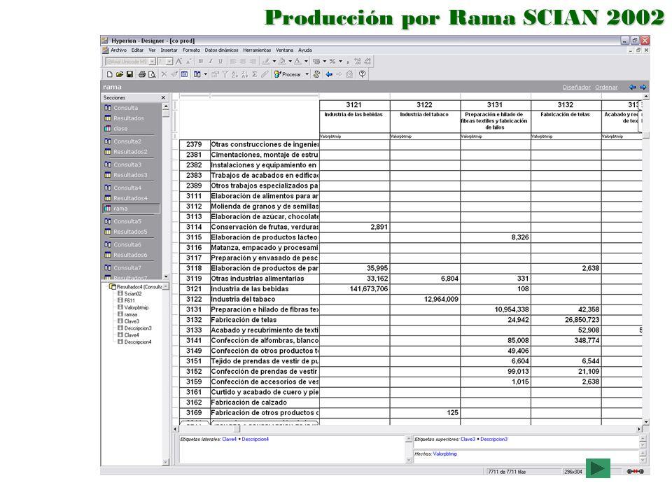 Producción por Rama SCIAN 2002