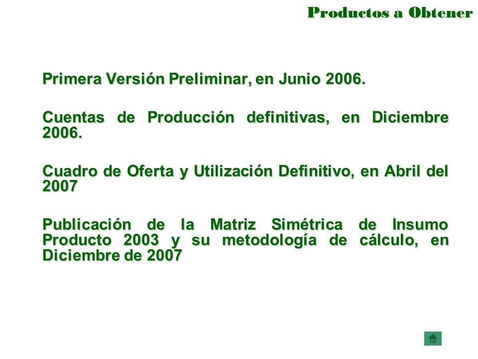 Productos a Obtener Productos a Obtener Primera Versión Preliminar, en Junio 2006. Cuentas de Producción definitivas, en Diciembre 2006. Cuadro de Ofe