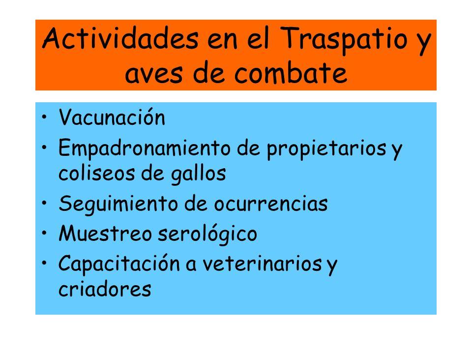 Actividades en el Traspatio y aves de combate Vacunación Empadronamiento de propietarios y coliseos de gallos Seguimiento de ocurrencias Muestreo sero