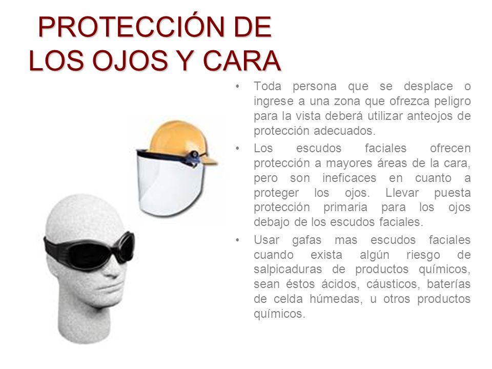 1.Para la protección de los ojos y cara 2.Para la protección de la cabeza. 3.Para la protección de los pies y las piernas. 4.Para la protección de las