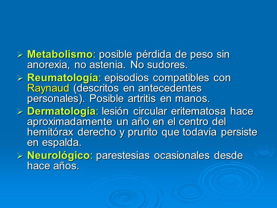Metabolismo: posible pérdida de peso sin anorexia, no astenia. No sudores. Metabolismo: posible pérdida de peso sin anorexia, no astenia. No sudores.