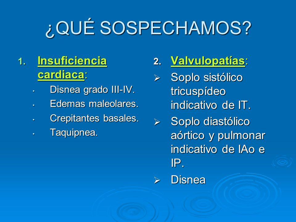 ¿QUÉ SOSPECHAMOS? 1. Insuficiencia cardiaca: Disnea grado III-IV. Disnea grado III-IV. Edemas maleolares. Edemas maleolares. Crepitantes basales. Crep