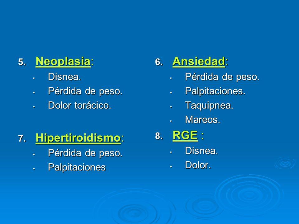 5. Neoplasia: Disnea. Disnea. Pérdida de peso. Pérdida de peso. Dolor torácico. Dolor torácico. 7. Hipertiroidismo: Pérdida de peso. Pérdida de peso.