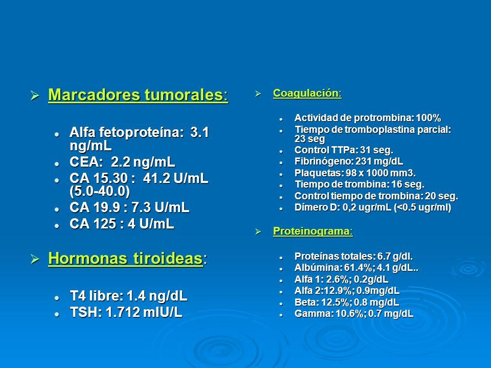 Marcadores tumorales: Marcadores tumorales: Alfa fetoproteína: 3.1 ng/mL Alfa fetoproteína: 3.1 ng/mL CEA: 2.2 ng/mL CEA: 2.2 ng/mL CA 15.30 : 41.2 U/