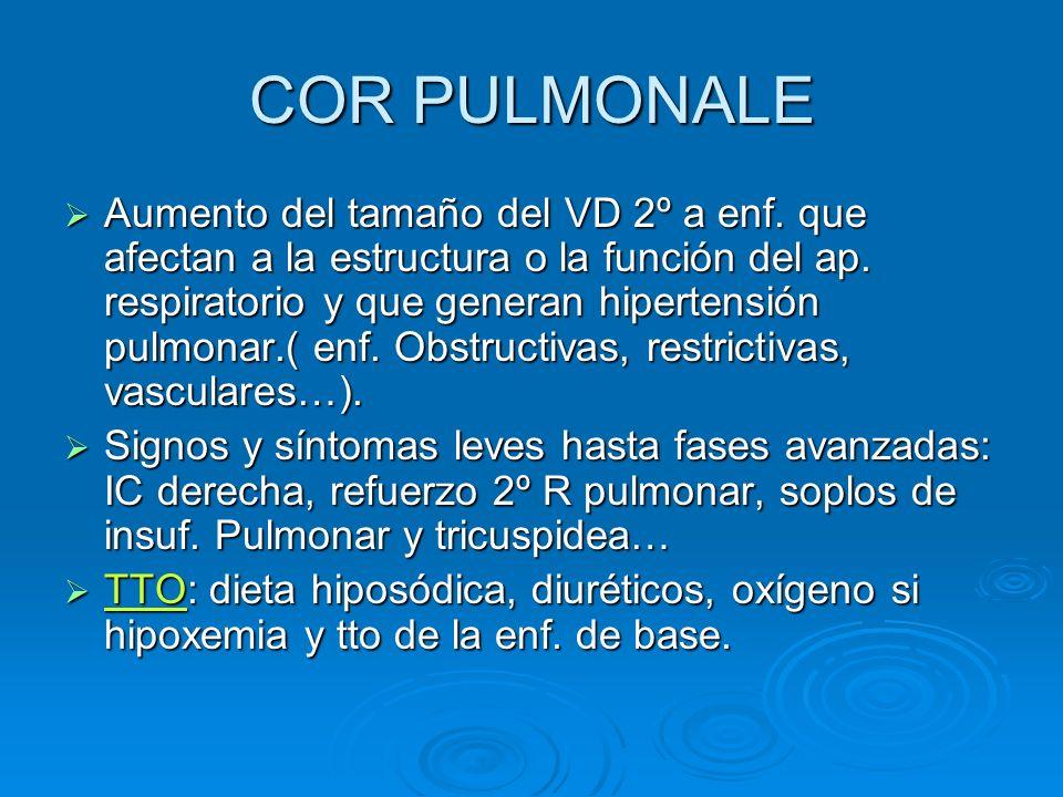COR PULMONALE Aumento del tamaño del VD 2º a enf. que afectan a la estructura o la función del ap. respiratorio y que generan hipertensión pulmonar.(