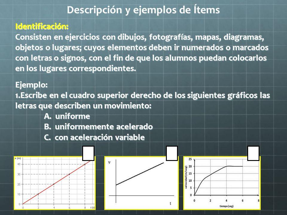 Descripción y ejemplos de Ítems Identificación: Consisten en ejercicios con dibujos, fotografías, mapas, diagramas, objetos o lugares; cuyos elementos