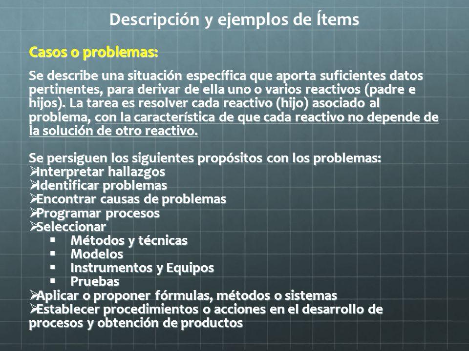 Descripción y ejemplos de Ítems Casos o problemas: Se describe una situación específica que aporta suficientes datos pertinentes, para derivar de ella