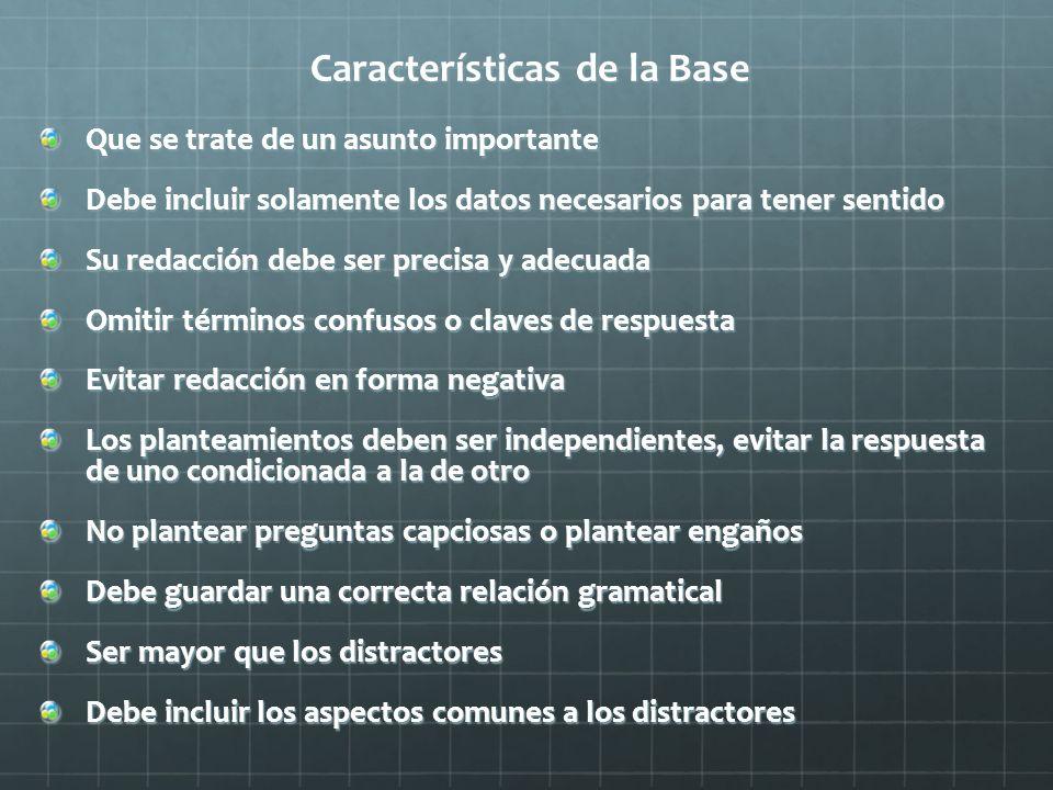 Características de la Base Que se trate de un asunto importante Debe incluir solamente los datos necesarios para tener sentido Su redacción debe ser p