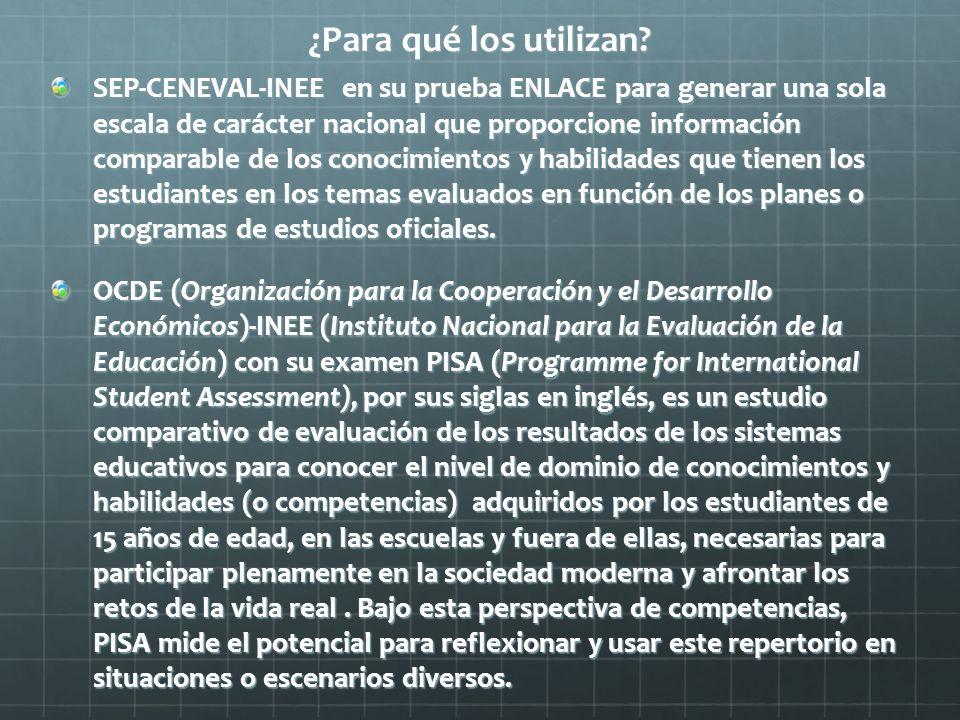 ¿Para qué los utilizan? SEP-CENEVAL-INEE en su prueba ENLACE para generar una sola escala de carácter nacional que proporcione información comparable