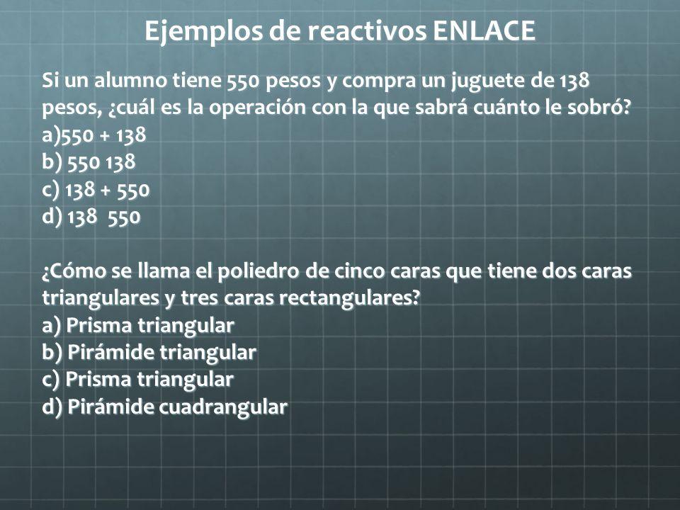 Ejemplos de reactivos ENLACE Si un alumno tiene 550 pesos y compra un juguete de 138 pesos, ¿cuál es la operación con la que sabrá cuánto le sobró? a)