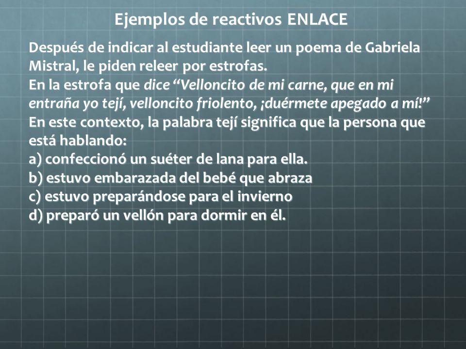 Ejemplos de reactivos ENLACE Después de indicar al estudiante leer un poema de Gabriela Mistral, le piden releer por estrofas. En la estrofa que dice