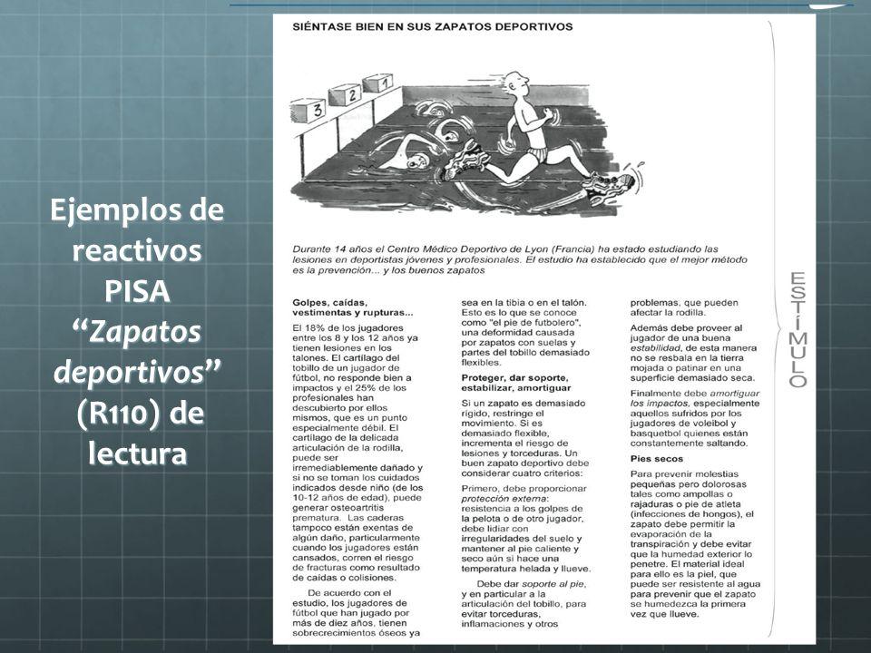 Ejemplos de reactivos PISAZapatos deportivos (R110) de lectura