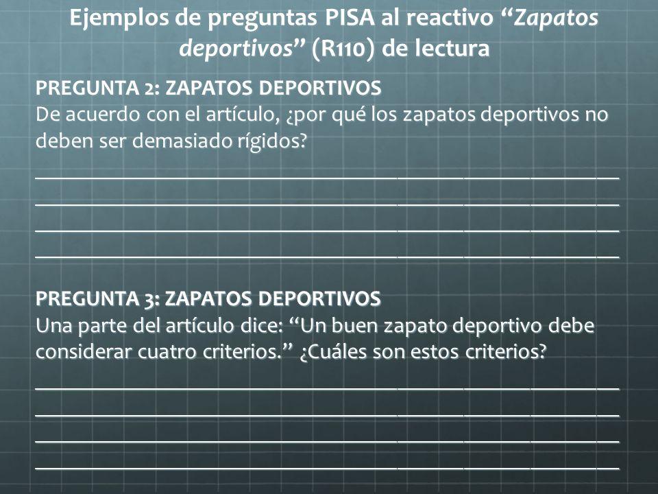 Ejemplos de preguntas PISA al reactivo Zapatos deportivos (R110) de lectura PREGUNTA 2: ZAPATOS DEPORTIVOS De acuerdo con el artículo, ¿por qué los za