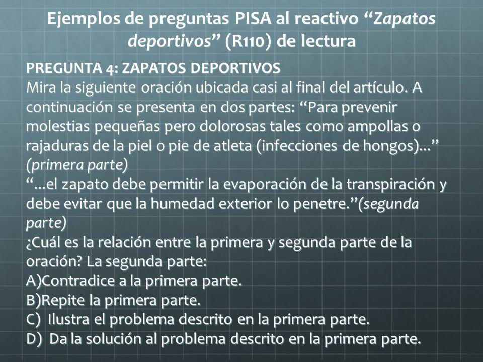 Ejemplos de preguntas PISA al reactivo Zapatos deportivos (R110) de lectura PREGUNTA 4: ZAPATOS DEPORTIVOS Mira la siguiente oración ubicada casi al f