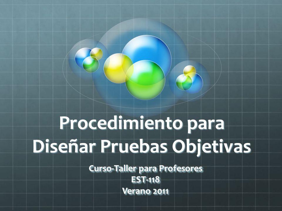 Procedimiento para Diseñar Pruebas Objetivas Curso-Taller para Profesores EST-118 Verano 2011 Curso-Taller para Profesores EST-118 Verano 2011