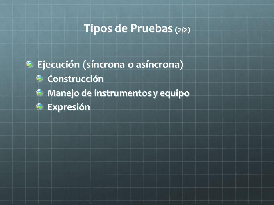 Tipos de Pruebas (2/2) Ejecución (síncrona o asíncrona) Construcción Manejo de instrumentos y equipo Expresión